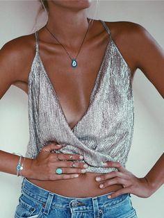 Silver Foil Wrap Front Cami Top