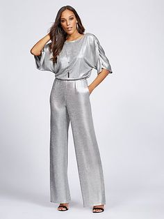 228dcee35a96 Silvertone Metallic-Foil Jumpsuit - Gabrielle Union Collection