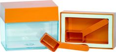 Frischhaltedose eckig transparent - mit Deckel in orange