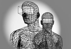 contemporary sculpture, surreal sculpture working with polymide and wire creating shadows. Real Virtuality. Lutz Wagner, aka Moto Waganari