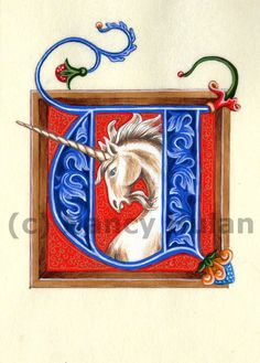 Medieval Illuminated Letter U, Alphabet Letter U, Painted Initial U