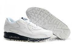 New Arrival 302519 115 Nike Air Max 90 Leather White White Midnight Navy  AMFM0667