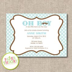 NEW!! PRINTABLE Oh Boy Baby Shower Invitation by papertheory on Etsy, $15.00