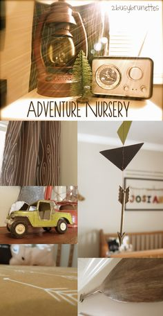 It's about time to share with you pictures of my baby boy's adventure/outdoor themed nursery!  Sources: Furniture: Crib, rocking chair- hand-me-down, side table, dresser- thrifted Wall Art: antler ...