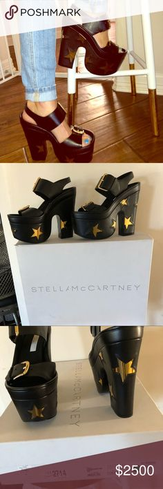Stella McCartney Black & Gold Star Sandals 37 NIB NOT for Sale! Just wanted to show you guys my birthday present to myself. I saved up all my PM money, so I could buy a new pair of shoes! Looooove these and can't wait to wear them our tonight! 💛🖤 Stella McCartney Shoes Sandals
