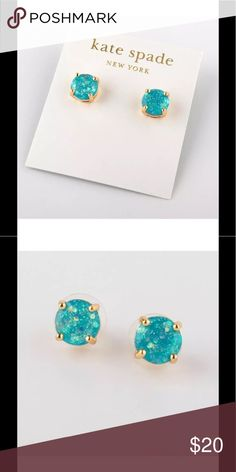 Kate Spade Mini Pale Blue Glitter Round Studs New without tags Kate Spade Mini Pale Blue Glitter Round Earring Studs. Measures approximately .25 inches. kate spade Jewelry Earrings
