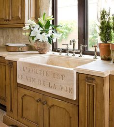Soapstone Sinks- Costly but indestructible, soapstone sinks exude quality and classic design. Whether they are undermount or farm-style, these sinks are made to be an attractive focal point in your kitchen.    Pro: A soapstone sink looks gorgeous whether it matches or contrasts the countertops. The stone can be carved and beveled with smooth edges and curves.    Con: The cost. These sinks are also very heavy, so an experienced installer and proper support underneath are required.