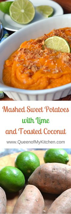 Sweet Potatoes with Lime and Toasted Coconut gives a tropical twist to ordinary sweet potatoes and is a fantastic summer side dish. | QueenofMyKitchen.com
