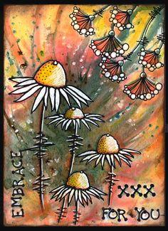 anjas-artefaktotum: Stampingback Flowers on Bisterbackground with Pan Pastells