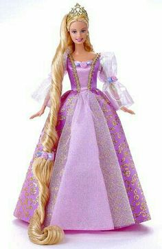 Barbie - Rapunzel----I remember this doll. you could gently tug down her hair to make it go a bit longer. Barbie Rapunzel, Rapunzel Flynn, Disney Barbie Dolls, Barbie Movies, Barbie I, Barbie World, Barbie Dress, Barbie Clothes, Manequin
