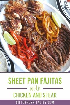 These fast and flavorful fajitas are ideal for a weeknight dinner. Add tortillas and dinner is served! #sheetpanfajitas #sheetpandinner #chickenthighs Mexican Food Recipes, Beef Recipes, Chicken Recipes, Vegetarian Main Dishes, Fajita Recipe, Dinner Is Served, Gluten Free Chicken, Chicken Fajitas, Sheet Pan