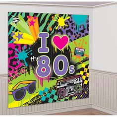 Like, totally chill out, this party pack has decorations for your 80s party covered! The Totally 80s Scene Setter pack is ready for a par-tay! Each kit features a giant design of neon colors and anima