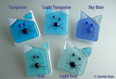 fused glass cats