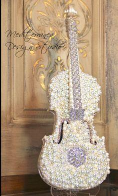 Embellished Violin, altered violin, pearl violin, Mediterranea Design Studio, altered art, embellished instrument, violin decor