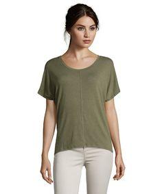 dc24659b035a0 Wyatt   olive green stretch jersey scoop neck tee shirt   style   373826202 Shirt  Shop