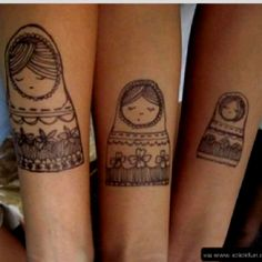 Russian doll tattoos.. Good for a mother and daughters/sisters #russian #tattoos #matching