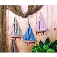 Small Ticking Sailboat With Hangers Set of 3 Nautical Beach Home Decor Wall Art