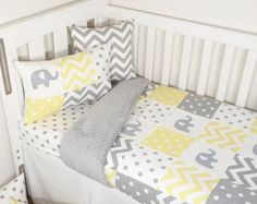 A gorgeous and classic grey and yellow patchwork elephant cot quilt, transitions seamlessly into a modern nursery. Coordinating with the plush, yellow minky is a perfect gender neutral nursery set. Elephant Quilt, Grey Elephant, Elephant Nursery, Nursery Paint Colors, Yellow Nursery, Nursery Decor, Neutral Baby Quilt, Nursery Neutral, Neutral Nurseries