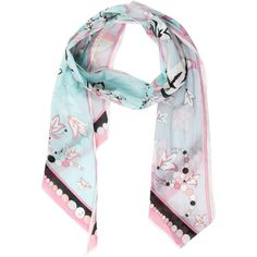 Pre-owned Emilio Pucci Printed Asymmetrical Scarf ($65) ❤ liked on Polyvore featuring accessories, scarves, blue, emilio pucci scarves, blue scarves, patterned scarves, emilio pucci and floral shawl