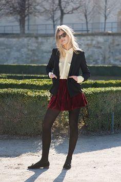 White blouse + blazer + velvet burgundy skirt + tights + black shoes