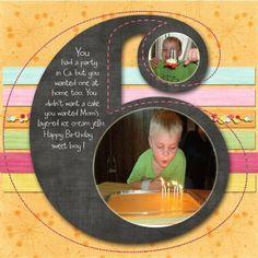Scrapbook layout ~ Six Boy's Birthday Page. Birthday Scrapbook Layouts, Scrapbook Bebe, Scrapbook Sketches, Scrapbook Page Layouts, Scrapbook Paper Crafts, Scrapbook Cards, Scrapbook Photos, Scrapbooking Photo, Digital Scrapbooking