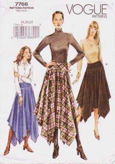 Falda de las mujeres patrón 7766 moda con pañuelo por CloesCloset, $8,00