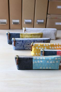 Finally, right?! Eeek! I hope you find this tutorial fun and helpful! Quite a few months ago I made these pencil pouches from the canvas fabrics in my collection for Cloud9 Fabrics, Rain Walk. So toda