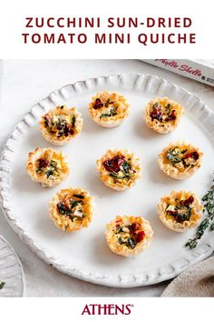 Make use of late summer veggies with these mini Zucchini Sundried Tomato Quiches. Click for the full recipe. #appetizer #brunch #quiche #zucchini #phyllo #phylloshells Vegan Weeknight Meals, Athens Food, Tomato Quiche, Stuffed Shells Recipe, Crispy Tofu, Sun Dried, Recipe Using, Brunch Recipes, Finger Foods