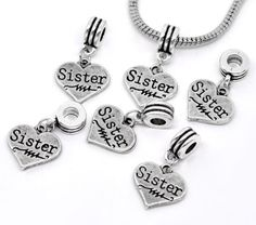 """ Sister on Heart Charm Dangle ""Antique'd Silver Bead Charm Spacer Pandora Troll Chamilia Biagi Bead Compatible"