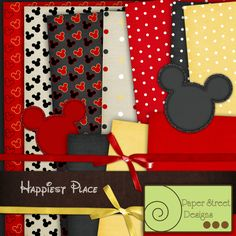 happiest place, free paper from Paper Street Designs Papel Scrapbook, Disney Scrapbook Pages, Digital Scrapbook Paper, Scrapbooking Layouts, Scrapbook Cards, Digital Papers, Creative Memories, Minnie Mouse Party, Disney Crafts