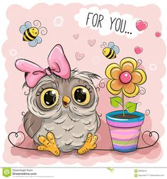 Illustration about Greeting card Cute Cartoon Owl with flower. Illustration of image, bird, heart - 83938216 Owl Pictures, Pictures To Draw, Cartoon Mignon, Chibi Kawaii, Owl Artwork, Image Nature, Owl Card, Owl Always Love You, Christmas Owls