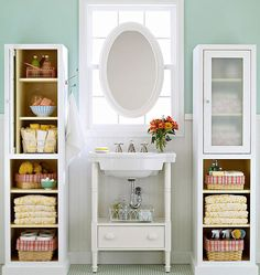 Bathroom Storage Ideas for Small Spaces - Bookcases for Toiletries - Click Pic for 42 DIY Bathroom Organization Ideas