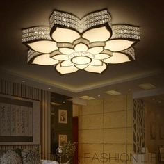 Simple Lotus Shaped Wrought Iron Ceiling Light Fixtures Led Ceiling light fixture led is composed of acrylic shade, wrought iron fixture and led light souce. House Ceiling Design, Ceiling Design Living Room, Bedroom False Ceiling Design, Chandelier In Living Room, Home Room Design, Living Room Lighting, Bedroom Lighting, Kitchen Lighting, Chandelier Lighting