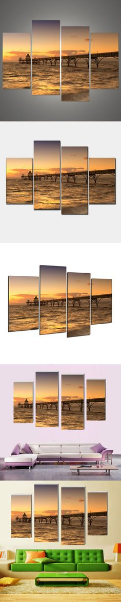 Beach promenade 4 Pcs posters on the wall Modern Home Decoration Living Room or Bedroom Canvas Print Painting Wall picture h/185 $12.9