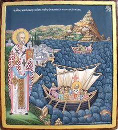 Tomorrow we commemorate Saint Nicholas the Wonderworker. This is an Orthodox icon from Greece showing the Saint while he's saving those who are in sea and are in danger. Saint Nicholas, please pray. Orthodox Catholic, Catholic Art, Orthodox Prayers, Religious Icons, Religious Art, Religious Paintings, Old Fashion Christmas Tree, Retro Christmas, Christmas Trees