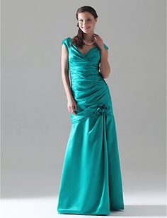 Trumpet/Mermaid V-neck Floor-length Satin Bridesmaid Dress - USD $ 129.99