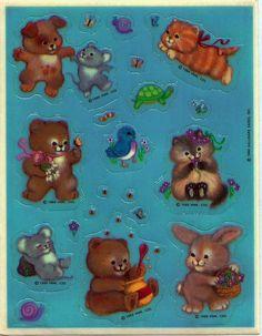 Stickers Vintage 1 sheet GLOSSY FINISH Bears, Kitten,Mice, Bunny,Blue Bird A1-27 #Hallmark #Stickers