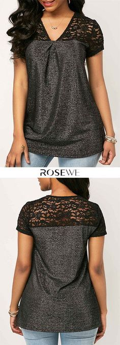Lace Panel V Neck Short Sleeve Blouse - Diy Clothing, Sewing Clothes, Look Plus Size, Mode Plus, Make Your Own Clothes, Women's Fashion, Fashion Outfits, T Shirt Diy, Blouse Styles