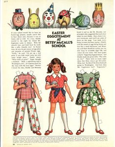 Vintage March 1973 Magazine Paper Doll Betsy McCall Easter Eggcitement at School