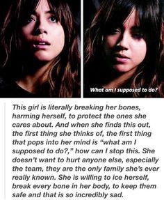 Skye ;-;,character like daisy,may,fitz-simmions is why I love marvel so much.