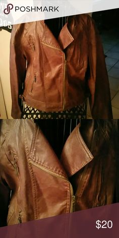 CHOCOLATE BROWN FAUX LEATHER JACKET Worn once, perfect condition, super soft Jou Jou Jackets & Coats Jean Jackets