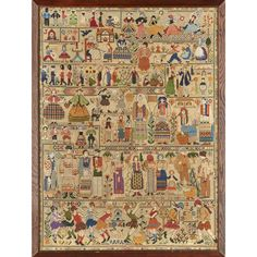 Lot 122 - ENGLISH SCHOOL EMBROIDERED WOOLWORK SAMPLER, DATED 1941 depicting figures in European National