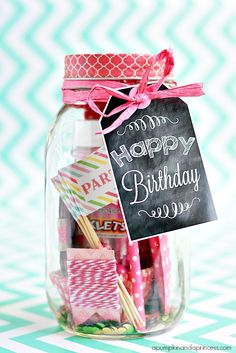 Birthday in a jar - printable birthday tags. Verjaardag potje