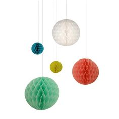 Hanging Decorations . Paper Honeycomb Bunting Balls - This Modern Life