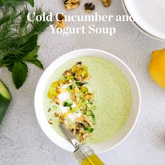 Cold Yogurt and Cucumber Soup - FAGE Total yogurt adds a layer of rich, creamy texture. Cool as a cucumber – soup. Cucumber Soup Recipe, Cucumber Yogurt, Cucumber Recipes, Yogurt Recipes, Healthy Soup Recipes, Vegetarian Recipes, Cooking Recipes, Cucumber Soup Cold, Comida Israeli