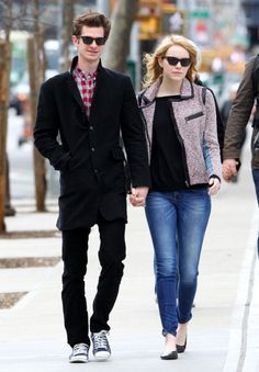 Spiderman's Sweethearts: A Look Back at Emma Stone and Andrew Garfield's Adorably Chic Couple Style: Flats and shades on the streets of NYC on May