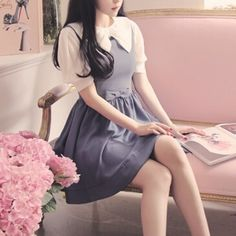 Korean fashion - blue dress with white puff sleeves and bow collar