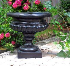 Short Urn Planter Garden In Garden Bronze With Gold Highlight - Homeclick Community Urn Planters, Hanging Planters, Planter Garden, Lawn And Garden, Garden Tools, Whiskey Barrel Planter, Yard Ornaments, Gold Highlights, Gardening