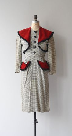Farnese Check dress and jacket vintage 1940s dress by DearGolden