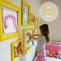 DIY Gallery Wall. Great for a kids room or the family room to show off kids' artwork